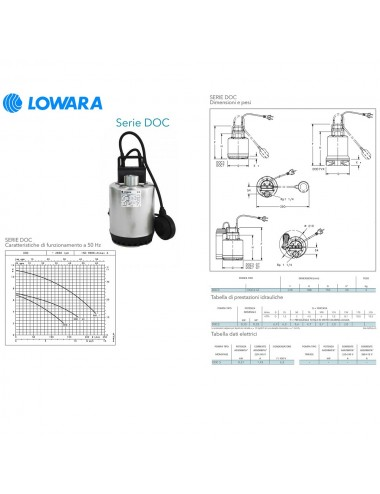 POMPA SOMMERGIBILE LOWARA ACQUE CHIARE MONOFASE HP 0 34 KW 0 25 SERIE DOC3 A