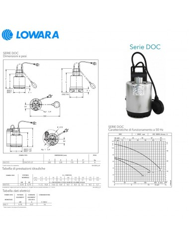 POMPA SOMMERGIBILE LOWARA ACQUE CHIARE MONOFASE HP 0 75 KW 0 55 SERIE DOC7 A