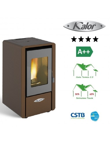 Stufa a pellet ad aria ventilata Kalor Petite 6 kw ruggine alta efficienza