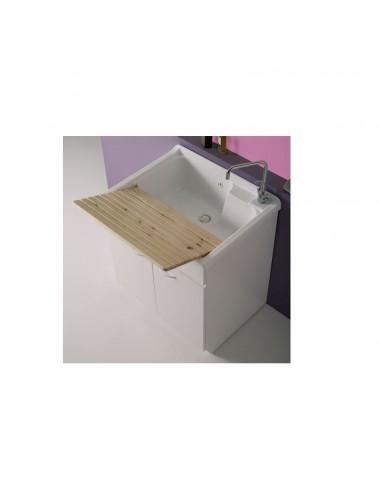 Mobile lavatoio lavanderia Lady 74x60 bianco con asse legno massello