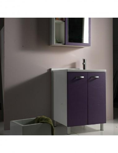 Mobile lavatoio lavanderia Sfera 60x60 con asse in legno massello vari colori
