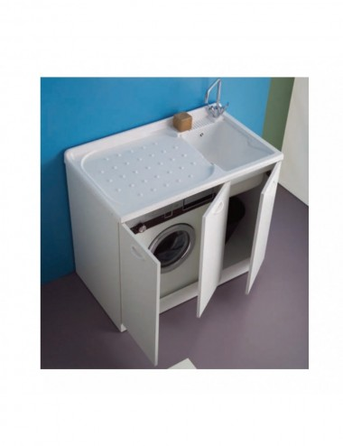 Mobile lavatoio lavanderia copri lavatrice Lady 107x61 bianco sx 3 ante