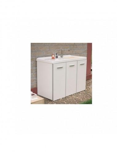 Mobile lavatoio lavanderia copri lavatrice Lady 124x61 bianco sx 3 ante