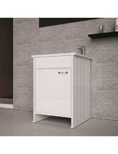 Mobile lavatoio lavanderia Compatta 50x50 bianco in pvc con asse