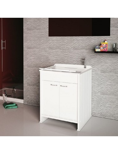 Mobile lavatoio lavanderia Compatta 60x60 bianco in pvc con asse