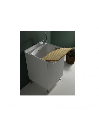 Mobile lavatoio lavanderia Lady 45x50 bianco con asse legno massello
