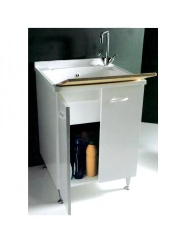 Mobile lavatoio lavanderia 60x60 Lady bianco con asse legno massello