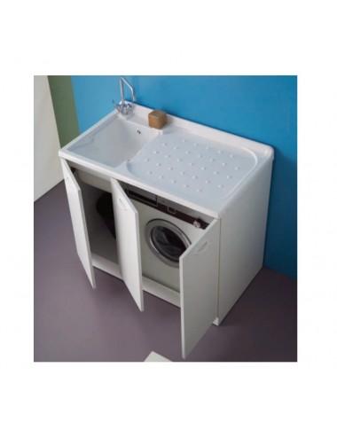 Mobile lavatoio lavanderia 107x61 copri lavatrice Lady bianco dx 3 ante