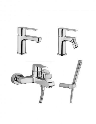 Set completo miscelatori lavabo bidet gruppo vasca Jacuzzi Eolo cromo