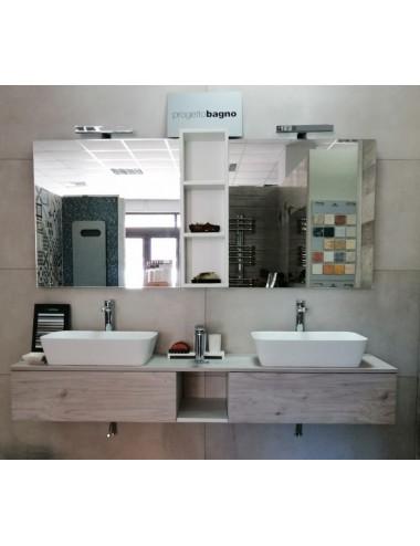 Composizione mobile sospeso doppio lavabo buckeye cm 185 colore legno naturale
