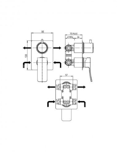 Miscelatore monocomando incasso doccia con deviatore Jacuzzi Tank cromato