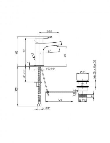 Miscelatore monocomando lavabo Jacuzzi rubinetterie Tank cromato con piletta