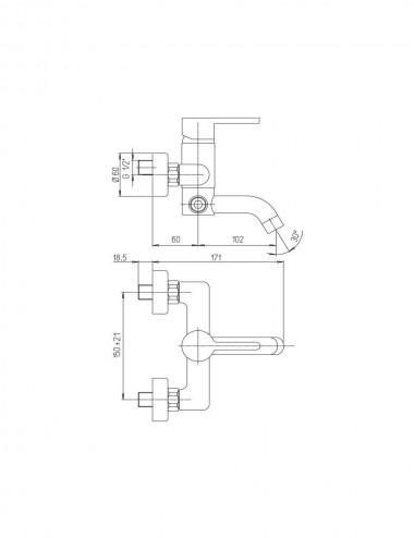 Miscelatore monocomando gruppo vasca Jacuzzi Sunset cromato c/duplex
