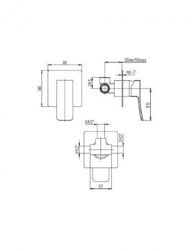 Miscelatore monocomando incasso doccia Jacuzzi rubinetterie Tank cromato