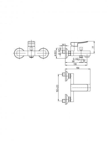 Miscelatore monocomando gruppo vasca Jacuzzi rubinetterie Tank cromato c/duplex