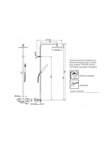Colonna doccia glint 01 Jacuzzi con miscelatore termostatico soffione 20x20 cm