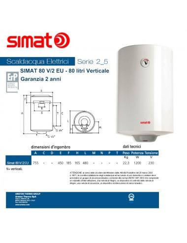 Scaldabagno elettrico Simat/Fais by Ariston 80 lt verticale