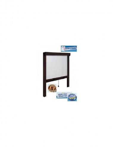 Zanzariera finestra verticale con frizione alluminio marrone cm  120 x 170