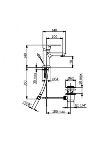 Miscelatore monocomando lavabo Fromac modello Prius cromato scarico automatico