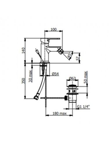 Miscelatore monocomando bidet Fromac modello Prius cromato scarico automatico