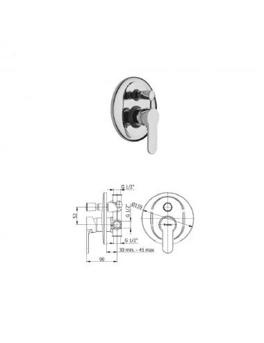 Miscelatore monocomando incasso doccia con deviatore Fromac Prius cromato