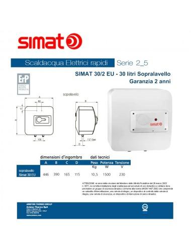 Scaldabagno elettrico Simat/Fais by Ariston 30 lt sopra lavello