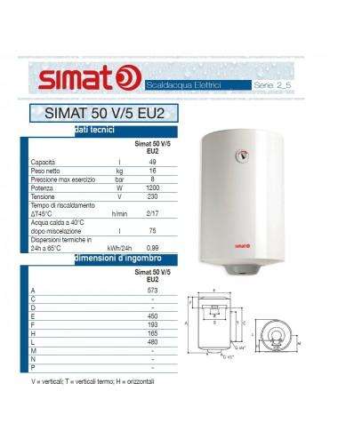 Scaldabagno elettrico Simat/Fais by Ariston 50 lt verticale