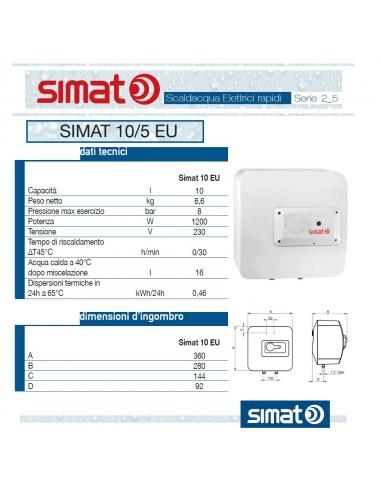 Scaldabagno elettrico Simat/Fais by Ariston 10 lt sopra lavello