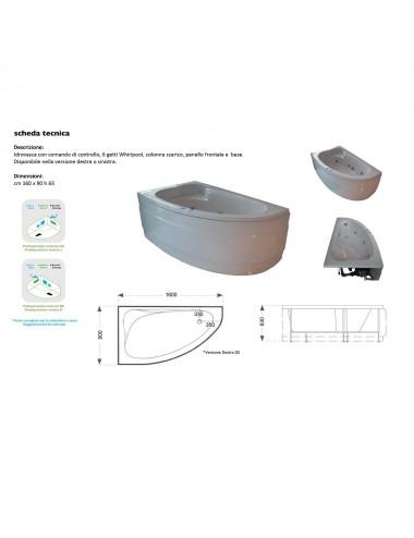 Vasca da bagno idromassaggio angolare con cromoterapia modello Zaira 160x90
