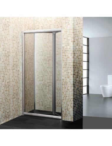 Porta doccia nicchia cm 80 h 190 a libro-soffietto cristallo trasparente 6 mm