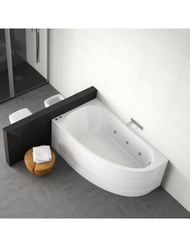 Vasca da bagno asimmetrica idromassaggio Tripoli cm 160 x 90 x 60.5 h