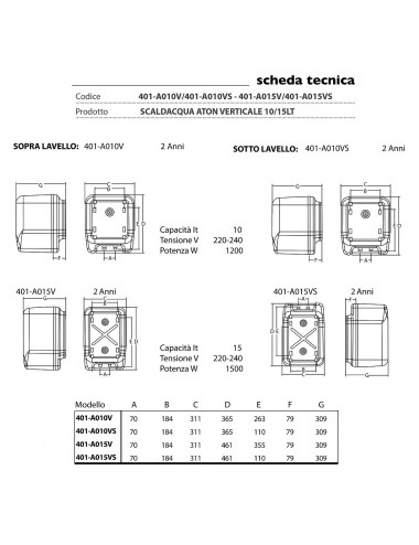 Scaldabagno elettrico Aton 15 litri sopralavello garanzia 2 anni