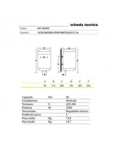Scaldabagno elettrico Aton 30 litri verticale garanzia 2 anni