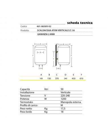 Scaldabagno elettrico Aton 50 litri verticale garanzia 2 anni