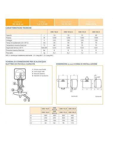 Scaldabagno elettrico Chaffoteaux 15 litri sopralavello garanzia 2 anni