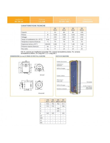 Scaldabagno elettrico Chaffoteaux 50 litri verticale garanzia 2 anni
