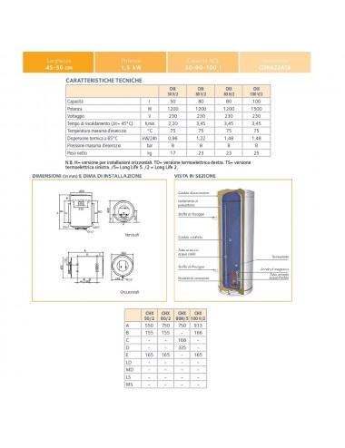 Scaldabagno elettrico Chaffoteaux 80 litri orizzontale garanzia 2 anni