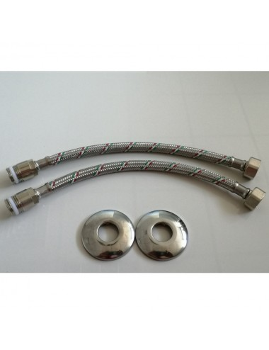 """Coppia tubo flessibile flessibili acqua M/F 1/2"""" Parigi acciaio inox prolungato"""