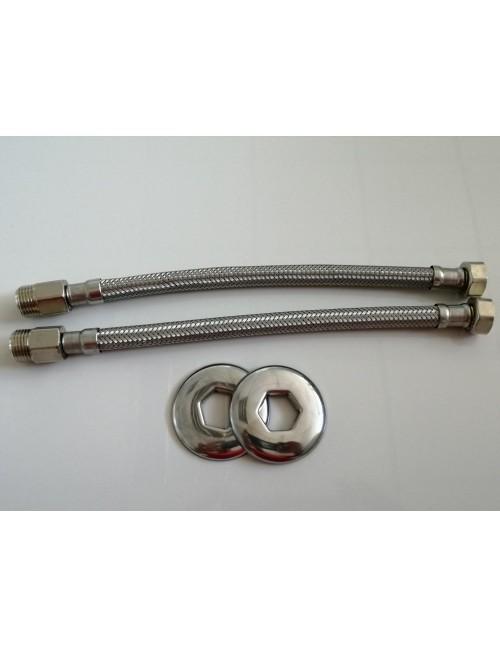 """Coppia tubo flessibile flessibili acqua M/F 1/2"""" in acciaio inox prolungato"""