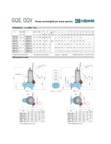 Pompa sommergibile per acque sporche Hp 1,00 GQSM50-9 Calpeda 230/50Hz