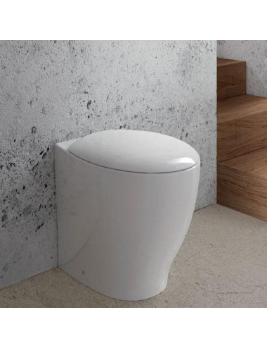 Vaso Wc filo muro in ceramica bianca Mascalzone Domus Falerii completo di sedile