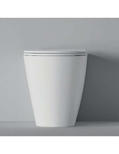 Vaso wc filo muro in ceramica bianca Hide Round Alice Ceramica con sedile