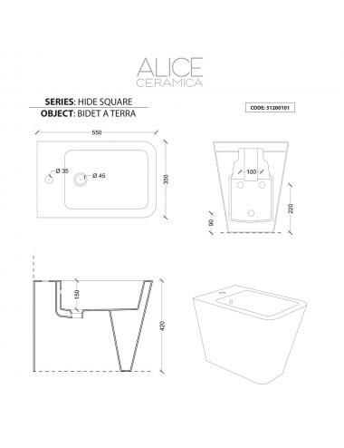 Bidet filo muro in ceramica beige Hide square Alice Ceramiche