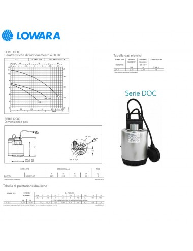 Pompa sommergibile Lowara acque chiare monofase HP 0,75 KW 0,55 serie DOC7/A GT