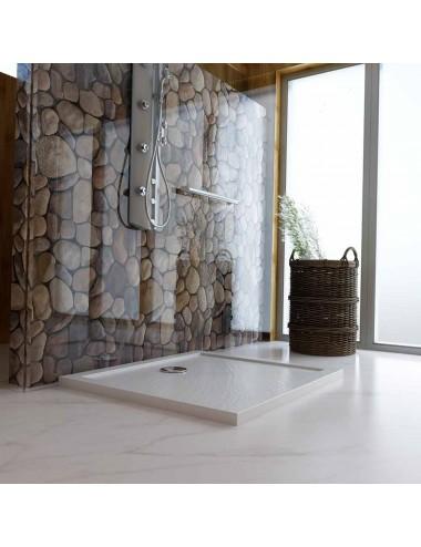 Piatto doccia slim quadrato 90x90 h 4 cm effetto pietra bianco