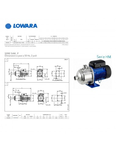 Pompa superficie Lowara centrifuga multistadio HP 1,29 KW 0,95 serie 5HM05