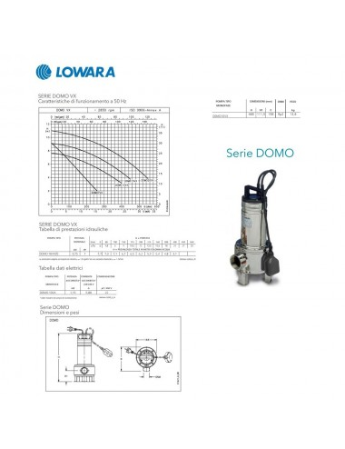 POMPA SOMMERGIBILE LOWARA ACQUE REFLUE MONOFASE HP 1 KW 0 75 SERIE DOMO10VX B