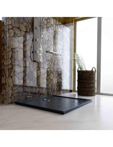 Piatto doccia slim quadrato 90x90 h 4 cm effetto pietra antracite