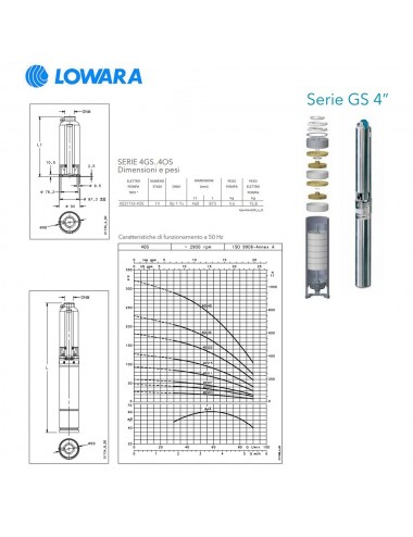 Pompa sommersa Lowara per pozzi monofase HP 1,5 KW 1,1 serie GS 4''