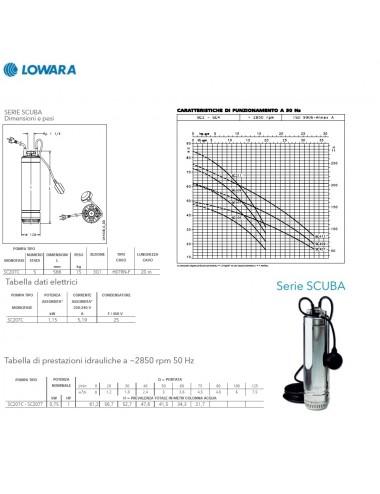 Pompa sommersa Lowara per cisterne monofase HP 1 KW 0,75 serie scuba C/G